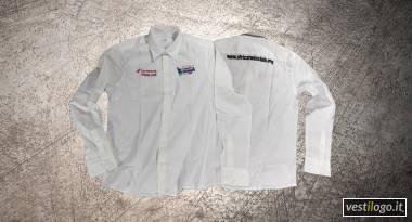 Camicia manica lunga con ricami su petto e schiena