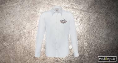 Camicia manica lunga con ricamo petto sinsitro