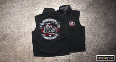 Gilet softshell biker ricamato