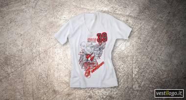 Tshirt scollo a V con ricamo alla moda per cafè, music e wine bar